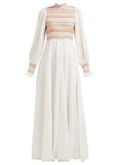 Zimmermann Goldie shirred voile maxi dress