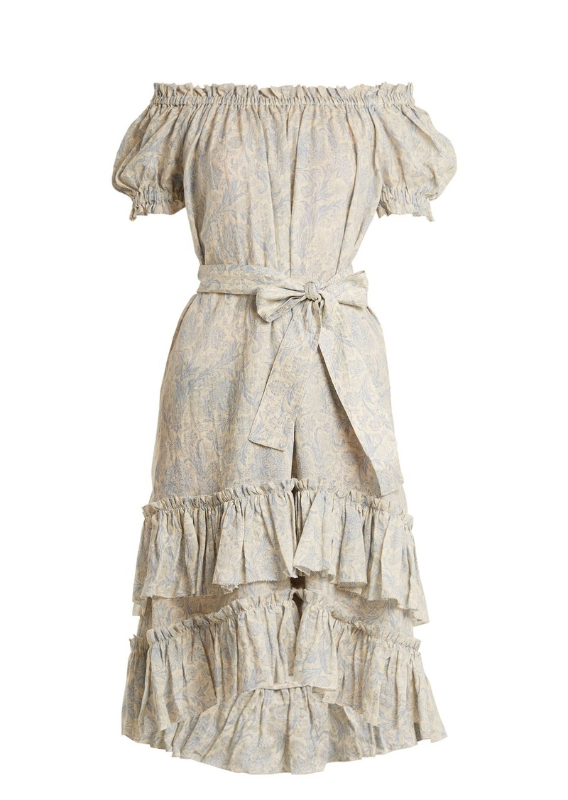 Zimmermann Helm off-the-shoulder linen dress