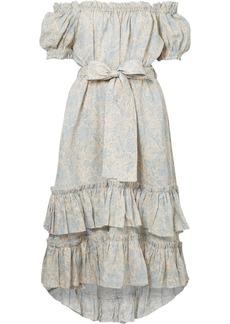 Zimmermann Helm off-the-shoulder tiered printed linen dress