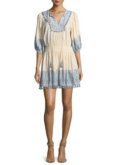 Zimmermann Helm Split-Neck Half-Sleeve Short Coverup Dress
