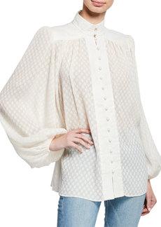 Zimmermann High-Neck Blouson-Sleeve Plisse Blouse