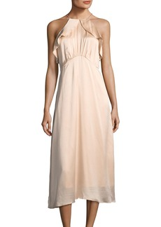 Zimmermann High-Neck Sleeveless A-Line Midi Dress