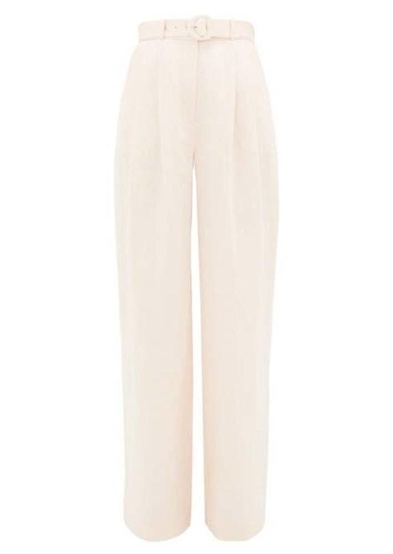 Zimmermann High-rise linen wide-leg trousers