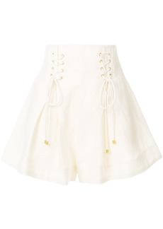 Zimmermann high-waisted lace-up shorts - White