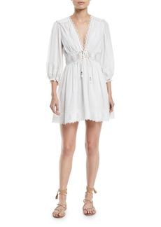 Zimmermann Iris Corset-Waist Lace Trim Mini Dress