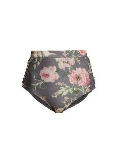 Zimmermann Iris floral-print high-rise bikini briefs
