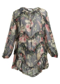Zimmermann Iris floral-printed sheer-silk top