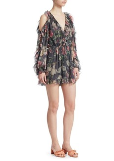 Iris Ruffle Cold-Shoulder Playsuit