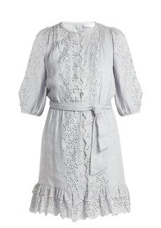 Zimmermann Iris scallop-lace linen dress