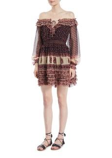 Zimmermann Jaya Off-the-Shoulder Blouson-Sleeve Ruffle Dress