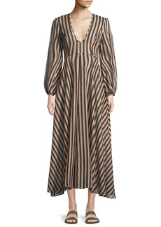 Zimmermann Jaya Plunge Long Striped Cotton Dress