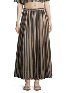 Zimmermann Jaya Striped Cotton Maxi Skirt
