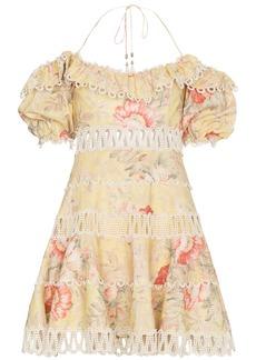 Zimmermann Jaya wave bodice halterneck cotton linen-blend dress -