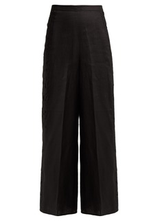 Zimmermann Juno cut-out embroidered linen trousers
