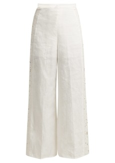 Zimmermann Juno embroidered cut-out linen trousers