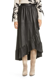 Zimmermann Ladybeetle Leather Midi Wrap Skirt