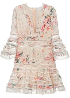 Zimmermann Laelia diamond trim floral print cotton dress - Nude &