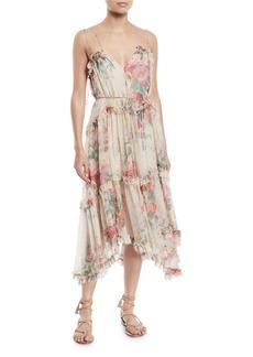 Zimmermann Laelie Floating Floral-Print Sleeveless Ruffle Dress