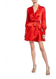 Zimmermann Long-Sleeve Short Wrap Dress
