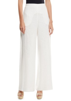Zimmermann Lovelorn High-Waist Wide-Leg Linen Trousers