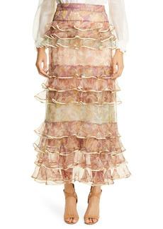 Zimmermann Lucky Paisley Tiered Ruffle Silk Skirt