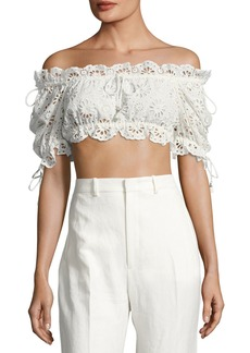 Zimmermann Lumino Eyelet Lace Bandeau Crop Top