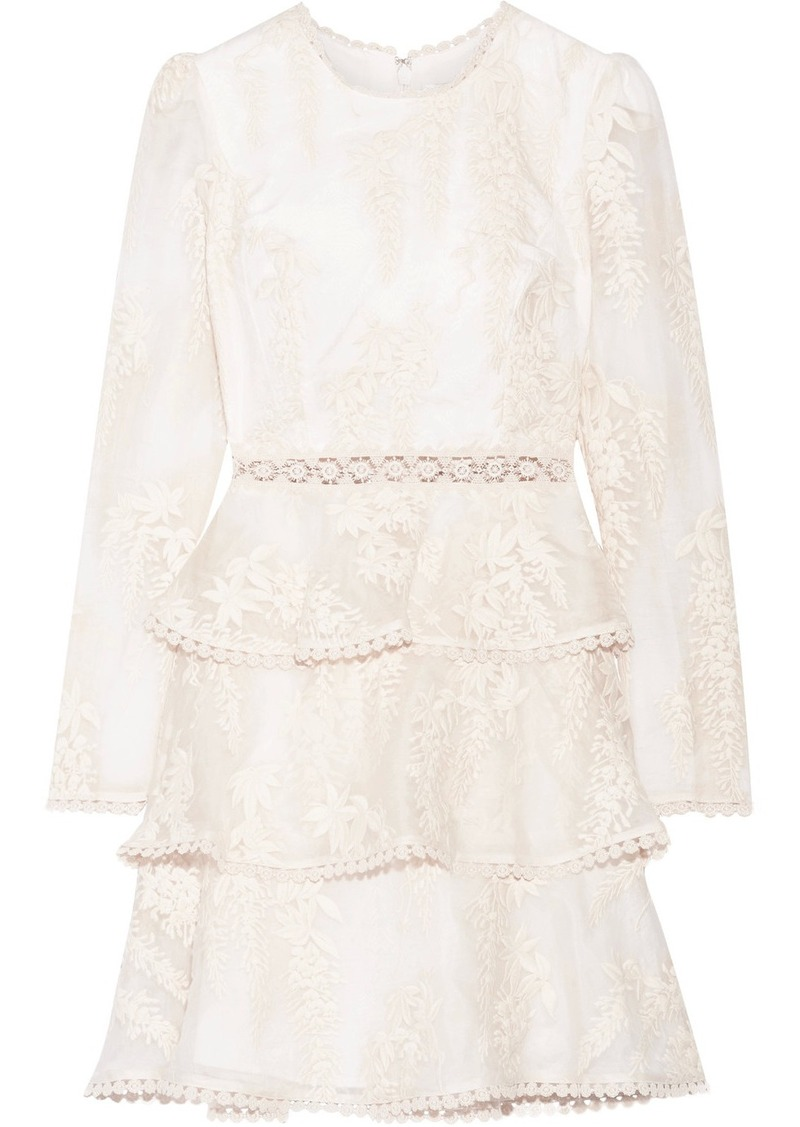 zimmermann maples embroidered crocheted lacetrimmed silkorganza mini dress