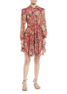Zimmermann Melody Floral Lace-Up Open-Back Ruffle Dress
