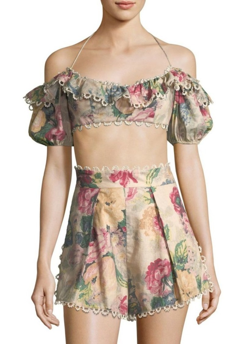 a6d3e7e9f12a28 Zimmermann Melody Off-The-Shoulder Cropped Top