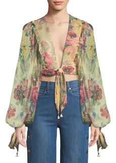 Zimmermann Melody Tie-Front Floral Crop Top