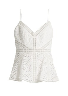 Zimmermann Meridian broderie-anglaise cotton cami top