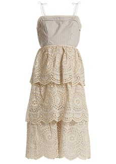 Zimmermann Meridian striped broderie-anglaise cotton dress