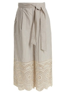 Zimmermann Meridian striped broderie-anglaise cotton trousers