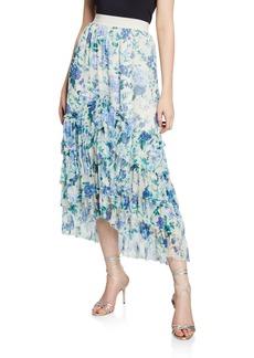 Zimmermann Moncur Chevron Frill Floral-Print Long Skirt