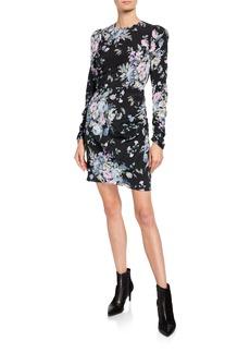 Zimmermann Moncur Draped Floral-Print Short Dress