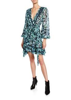 Zimmermann Moncur Floral-Print Wrap Mini Dress w/ Lace Trim
