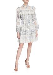 Zimmermann Moncur Lace-Yoke Short Dress