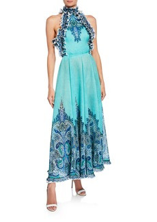 Zimmermann Moncur Ruffle-Neck Printed Pinafore Gown