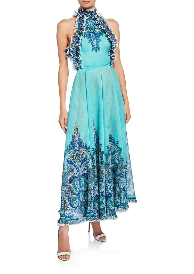 7c2f95c5f8656a Zimmermann Zimmermann Moncur Ruffle-Neck Printed Pinafore Gown | Dresses