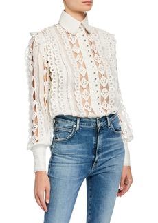Zimmermann Moncur Silk-Linen Studded Shirt