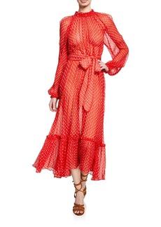 Zimmermann Ninety-Six Dot-Print Belted Swing Dress