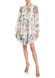 Zimmermann Ninety-Six Linear Floral Ruffle Short Dress