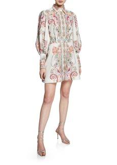 Zimmermann Ninety-Six Long-Sleeve Belted Shirtdress