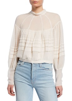 Zimmermann Ninety-Six Pintucked Cropped Blouse
