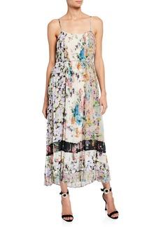Zimmermann Ninety-Six Pleated Floral-Print Slip Dress