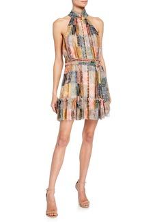 Zimmermann Ninety-Six Smocked Button-Front Short Dress