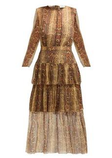 Zimmermann Ninety-Six snakeskin-print fluted dress