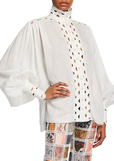 Zimmermann Ninety-Six Wave High-Neck Button-Front Top