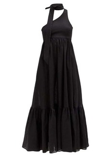 Zimmermann One shoulder sash-neck linen midi dress
