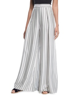 Painted Heart High-Waist Striped Silk Palazzo Pants